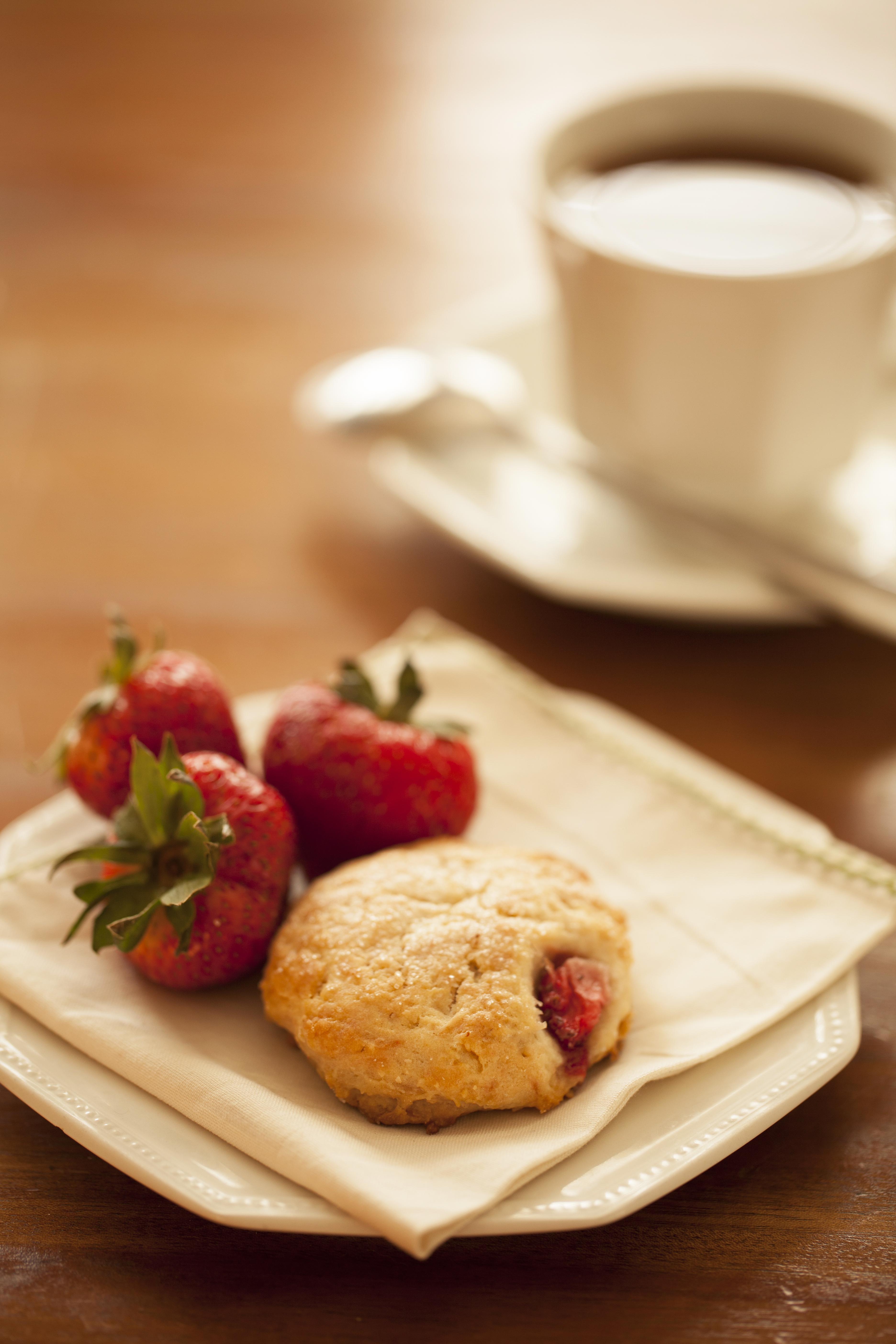 Strawberry cream scone and tea