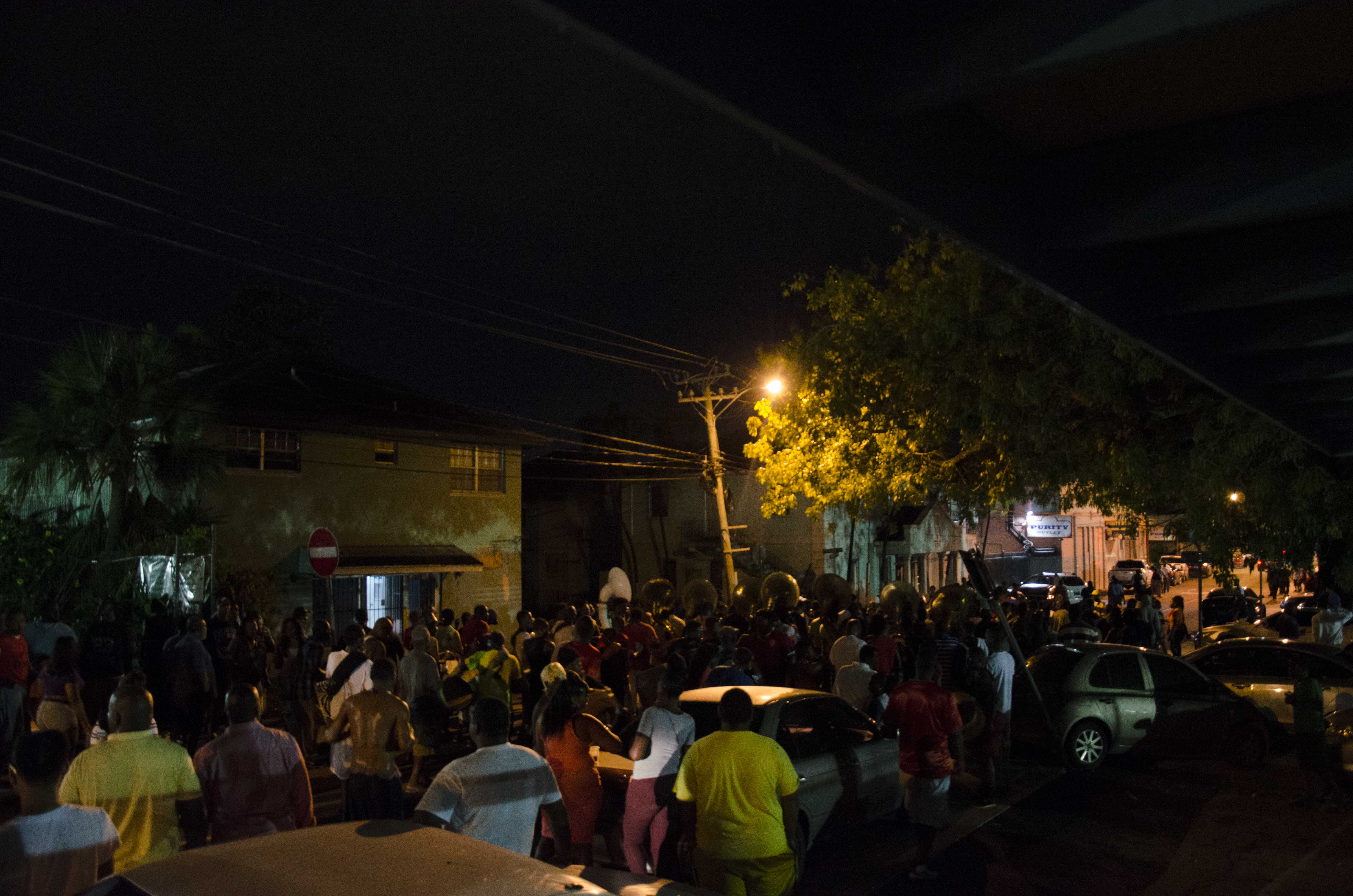 One Family Junkanoo practice crowd in the road