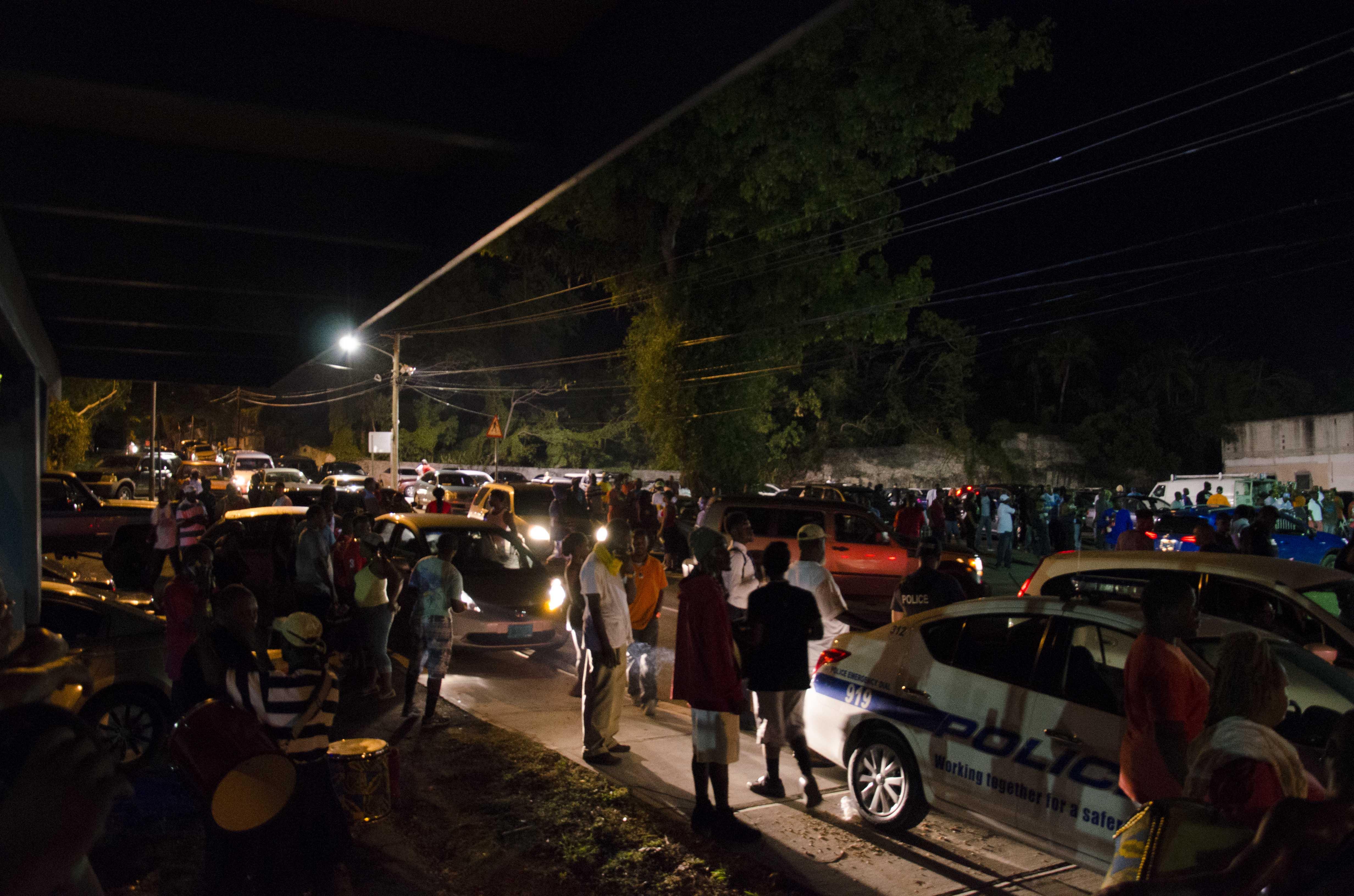 Traffic on Market Street at One Family Junkanoo practice