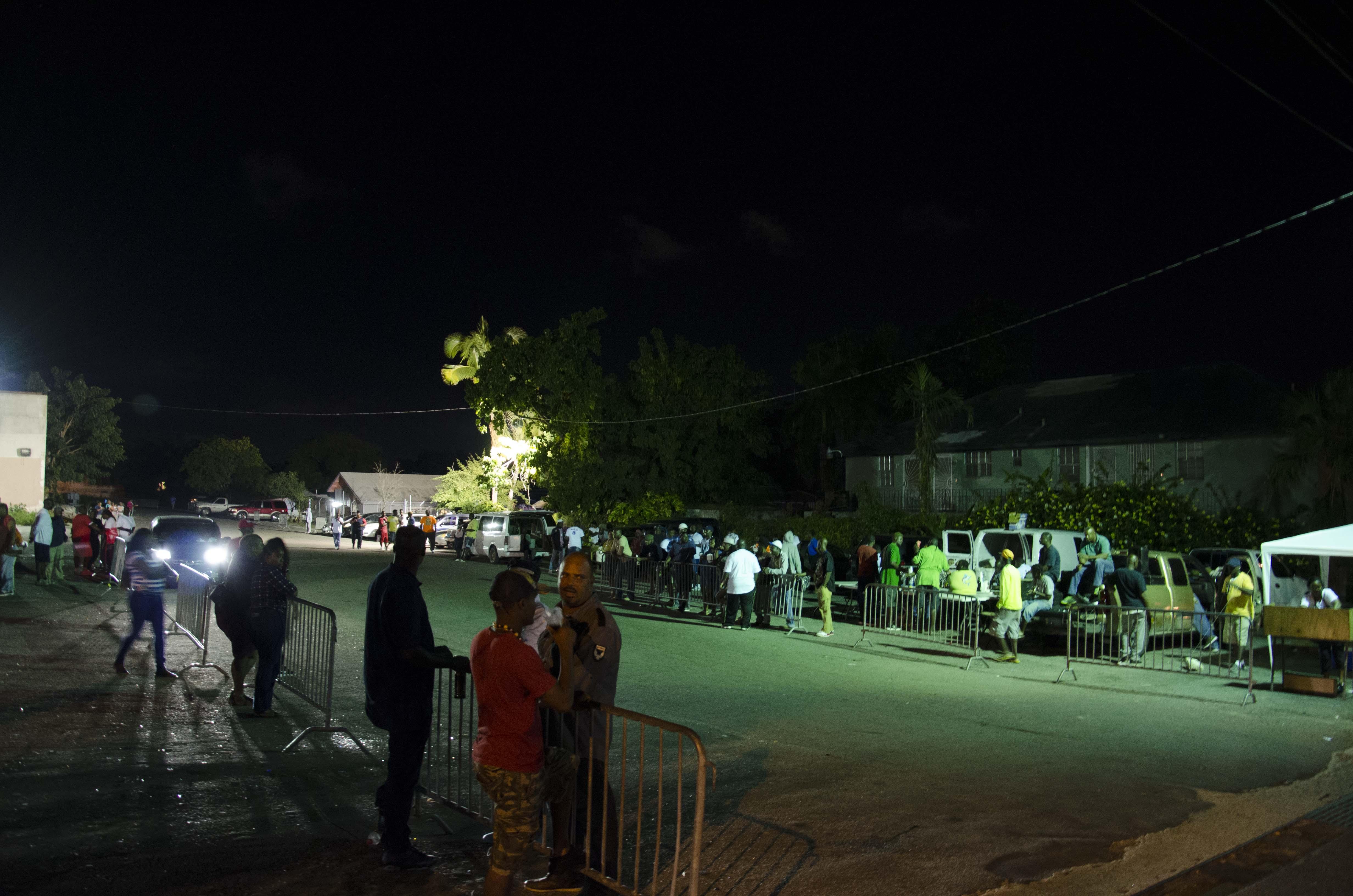 People waiting for Junkanoo practice to start.