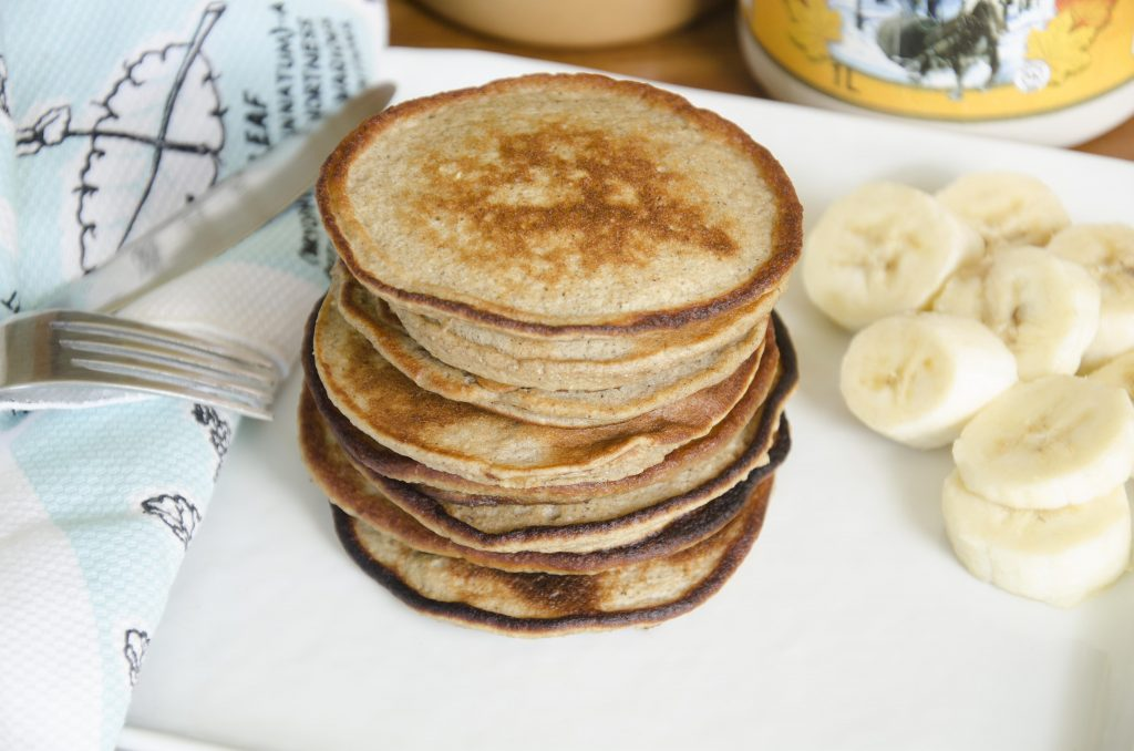Stack of blender banana pancakes