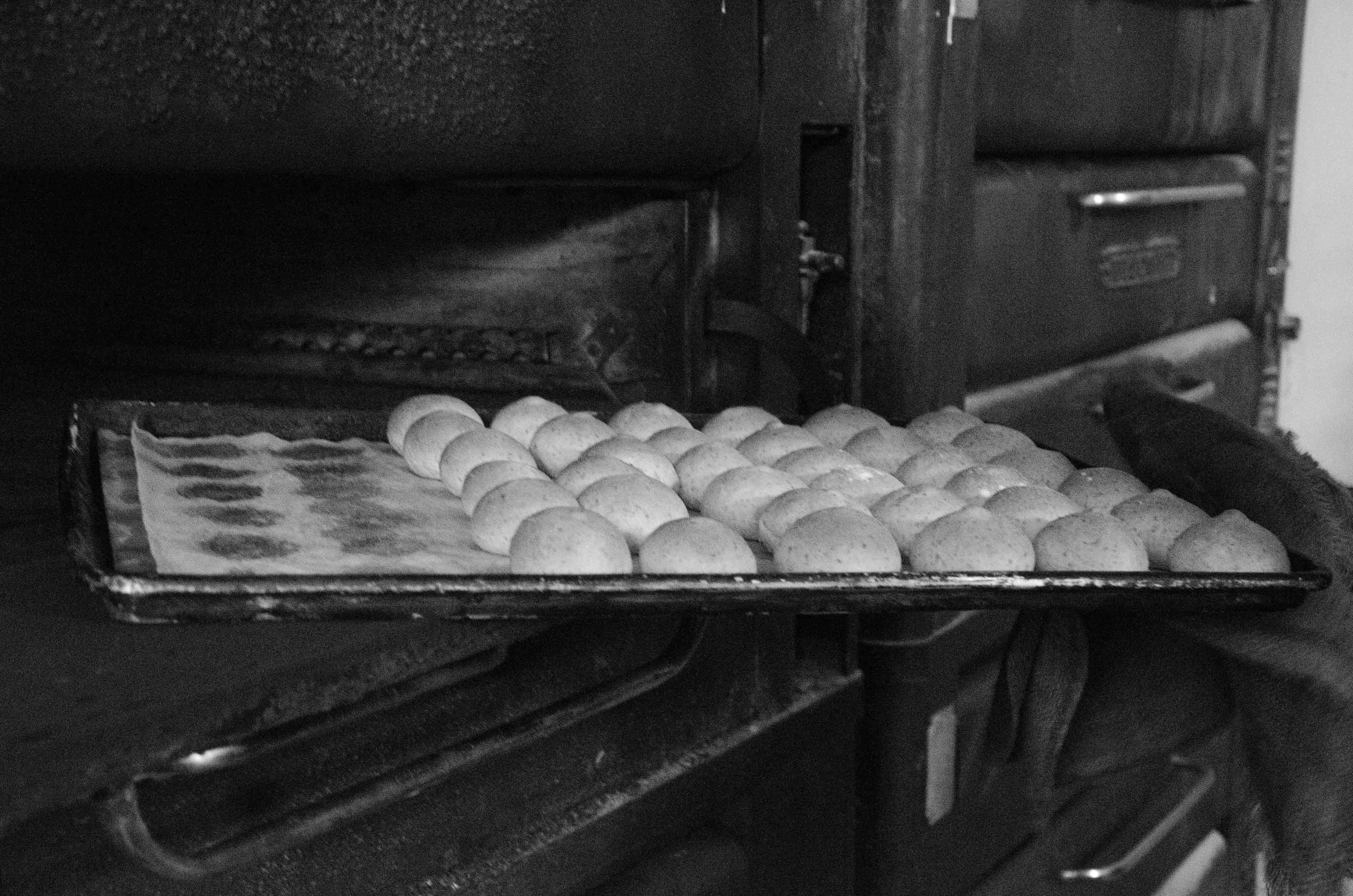 Wheat rolls coming out of the oven